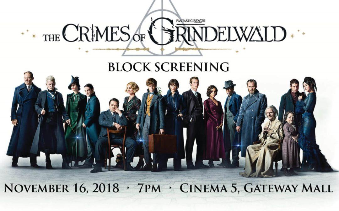 November 16, 2018 : Block Screening Of Fantastic Beast: The Crimes Of Grindelwald